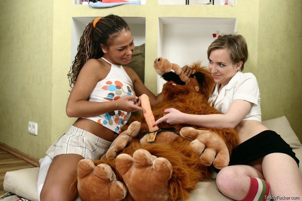 Women having sex with a teddy bear are mistaken